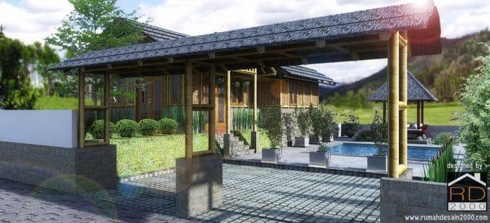 Gambar Desain Rumah Bambu Tampak Gerbang