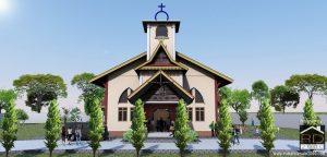 Desain-gereja-HKBP-kabupaten-siak-Tampak-Depan-300x144 Bangunan Project Lists Rumah ibadah   - Jasa desain rumah - Rumah Desain 2000