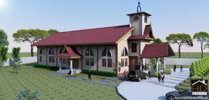 Gereja-HKBP-dengan-nuansa-melayu-tampak-perspektif-300x144 Bangunan Project Lists Rumah ibadah   - Jasa desain rumah - Rumah Desain 2000