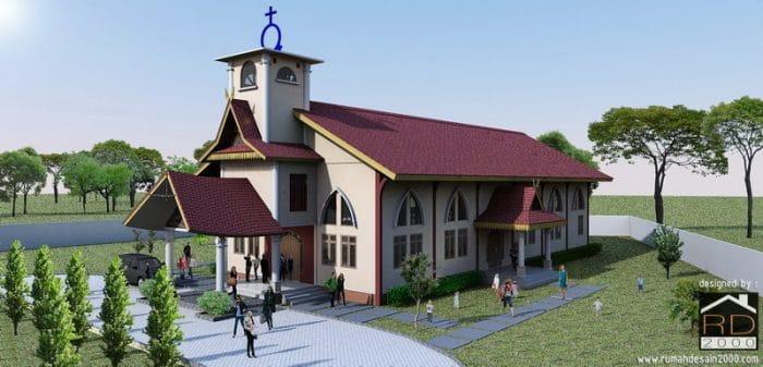 Gambar Tampak Perspektif 1 Gereja HKBP Dengan Nuansa Melayu