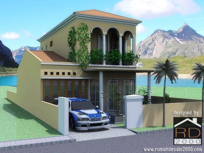 Gambar Desain Rumah Mediterania Tampak Perspektif
