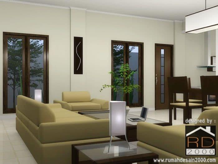 Gambar Desain Interior Ruang Keluarga Tampak Perspektif