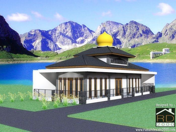 Gambar Tampak Perspektif Desain Bangunan Mushola