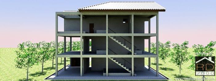 Gambar Visualisasi 3d Rumah Walet Tampak Struktur