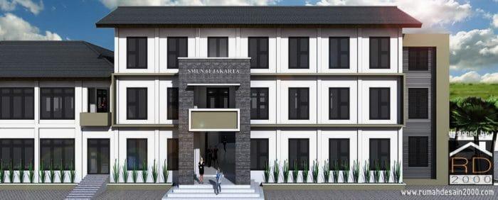Gambar Tampak Depan Desain Konsep Renovasi Gedung SMUN 61
