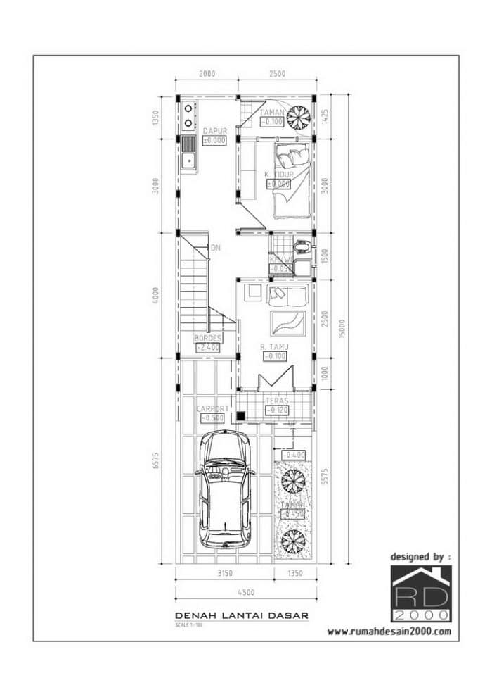 gambar denah lantai dasar desain rumah mungil minimalis gratis