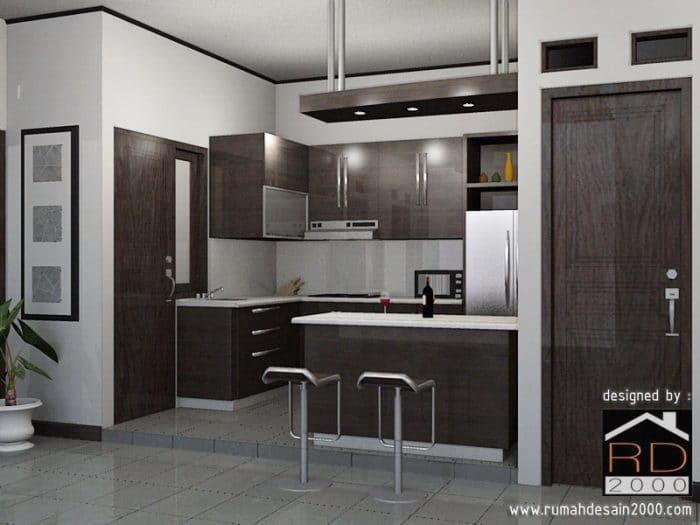 gambar perspektif desain dapur minimalis warna gelap