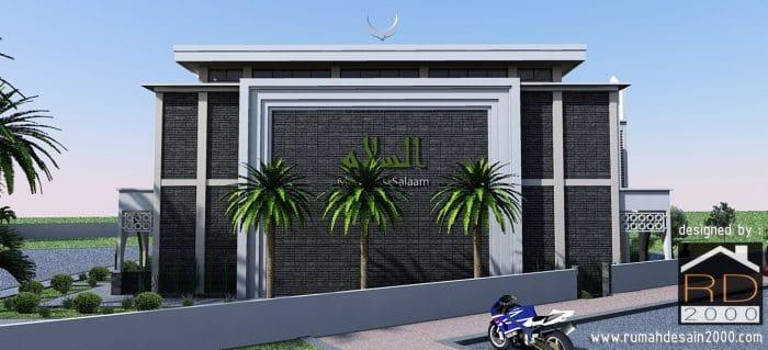 gambar Desain masjid modern tampak arah barat