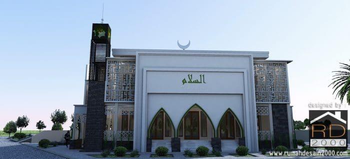 Gambar Desain Masjid Modern Tampak Arah Timur