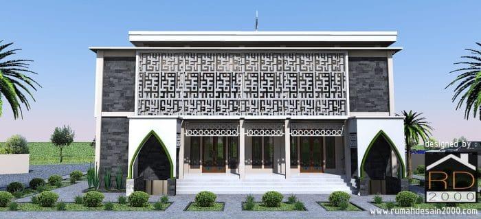 gambar Tampak arah utara desain masjid modern