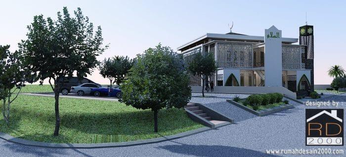 gambar Tampak areal parkir desain masjid modern