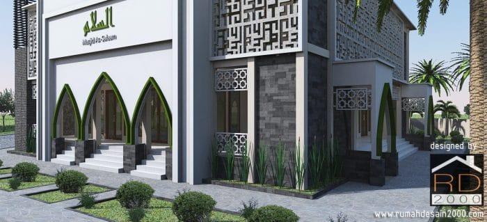gambar Tampak close up 3 desain masjid modern