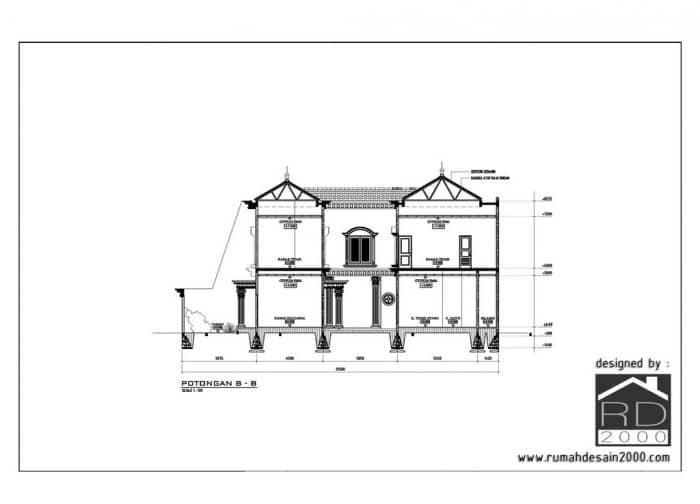 gambar potongan desain rumah klasik kemang pratama