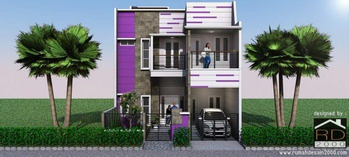 gambar tampak depan rumah minimalis nuansa ungu