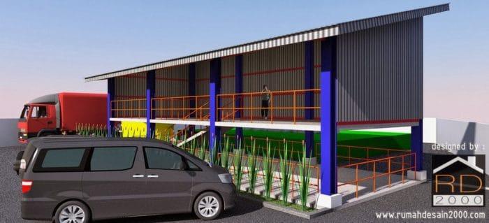 gambar Perspektif 1 desain tempat parkir motor pabrik