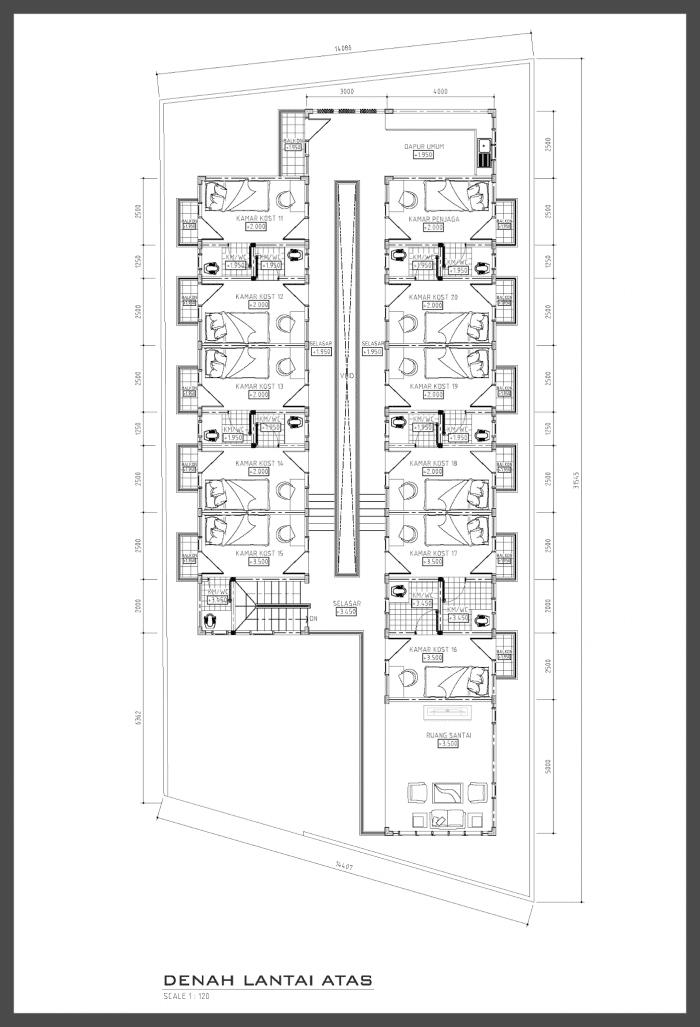 gambar Denah Lantai Atas rumah kost minimalis modern 2 lantai