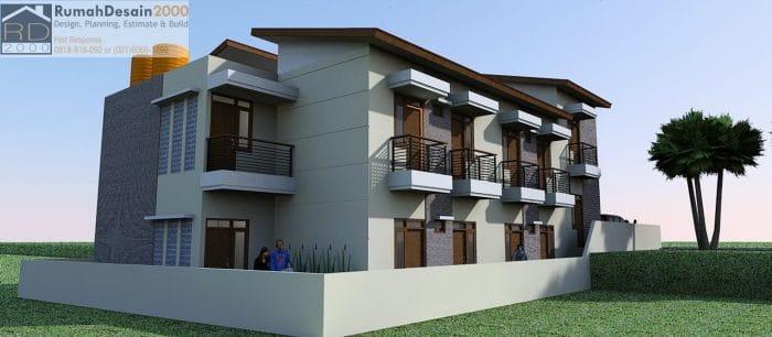 Perspektif 2 Desain Rumah Kost Minimalis Modern 2 Lantai Rumah Desain 2000