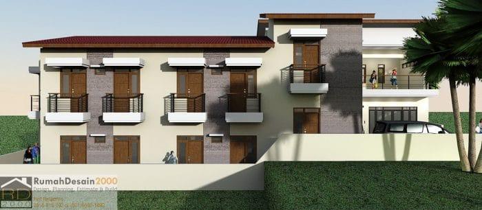 gambar Tampak Samping Kiri Rumah kost minimalis modern 2_