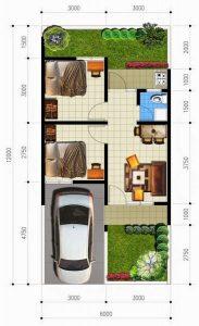 6 denah rumah minimalis pada lahan 6 x 12 - rumah desain 2000