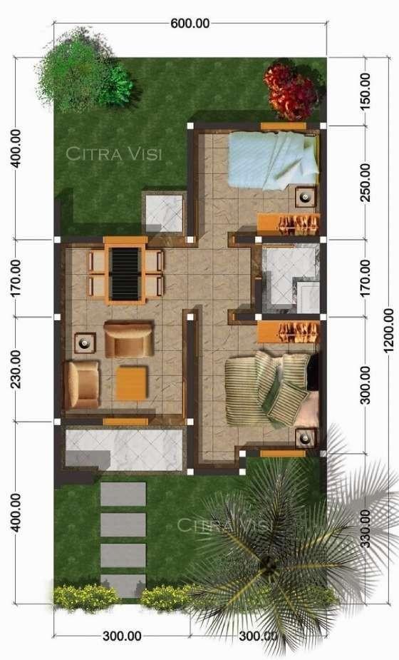 Gambar Denah Rumah Minimalis Ukuran 6x12 Rumah Desain 2000