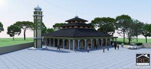 Desain-masjid-tampak-perspektif-300x137 Bangunan Project Lists Rumah ibadah   - Jasa desain rumah - Rumah Desain 2000